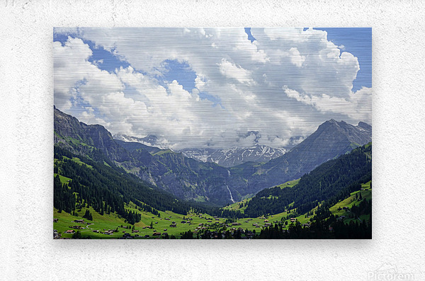 Beautiful Day in the Valley and Mountains of Adelboden Switzerland  Metal print