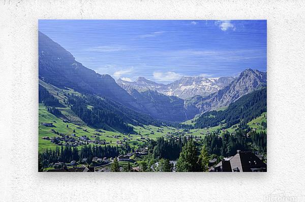Blue Skies over the Alps in Adelboden Switzerland  Metal print