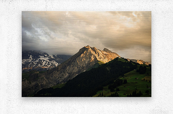 Mountain Bathed in the Golden Rays of the Sun at Sunset in Switzerland 1 of 3  Metal print
