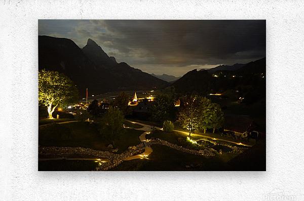 Night Arrives in the Saanen Valley in Switzerland  Metal print
