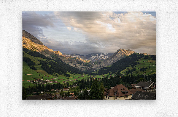 Golden Rays of the Sun Across the Mountains at Sunset in Switzerland 2 of 2  Metal print