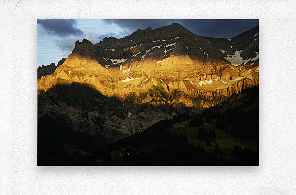 Mountain Bathed in the Golden Rays of the Sun at Sunset in Switzerland 2 of 3  Metal print