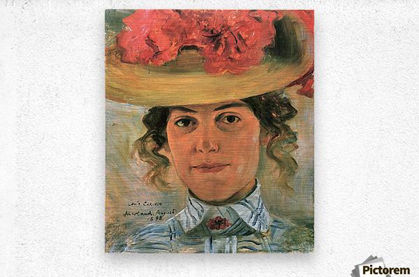 Womens Half-portrait with straw hat by Lovis Corinth  Metal print