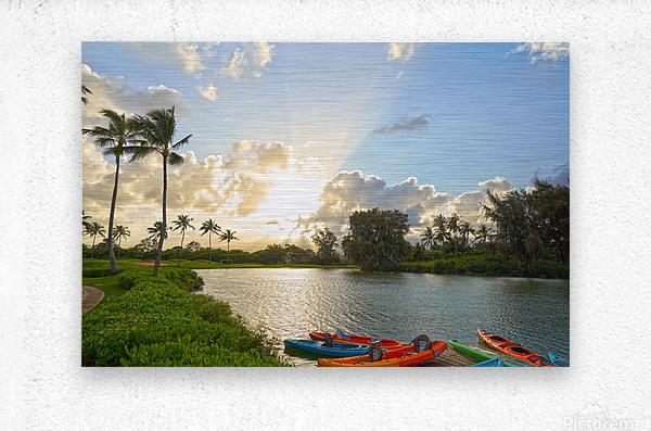 Sunset by the Lakeshore in Kauai  Metal print