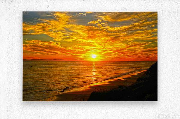 Sunset over Catalina Island in Newport Beach California  Metal print