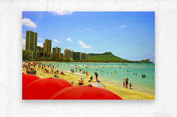 Waikiki Snapshot in Time 1 of 4  Metal print