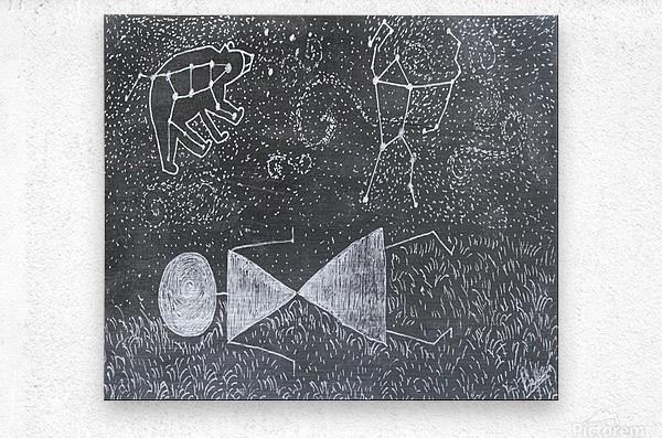 Daydreaming--Warli Tribal art  Metal print
