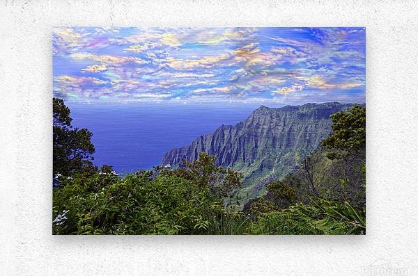 Sunset at Puu O Kila Lookout Kohala Mountains on the Island of Kauai in Hawaii  Metal print