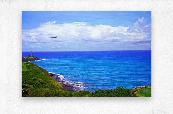 Hawaiian Airlines Flight Landing at Lihue Airport on the Island of Kauai  Metal print
