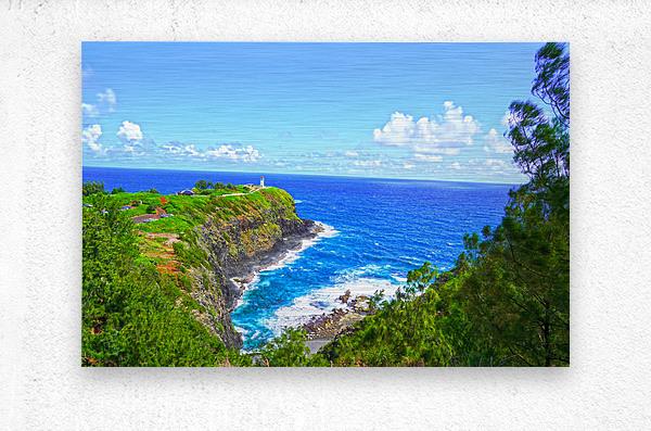 Kilauea Lighthouse in Spring on the Island of Kauai  Metal print