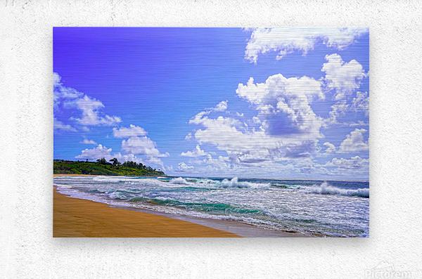 Wild Day at Wailua Beach on the Island of Kauai  Metal print