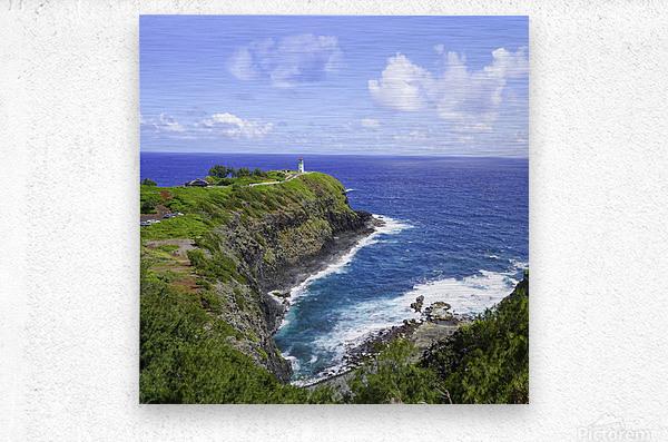 Kilauea Lighthouse on the Island of Kauai Square  Metal print