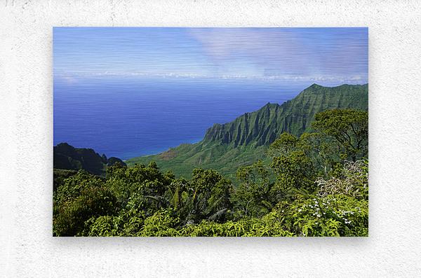 Blue Skies Puu O Kila Lookout Kohala Mountains on the Island of Kauai in Hawaii  Metal print