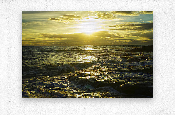Sunlight and Shadows Play in the Waters at the Bay  Metal print