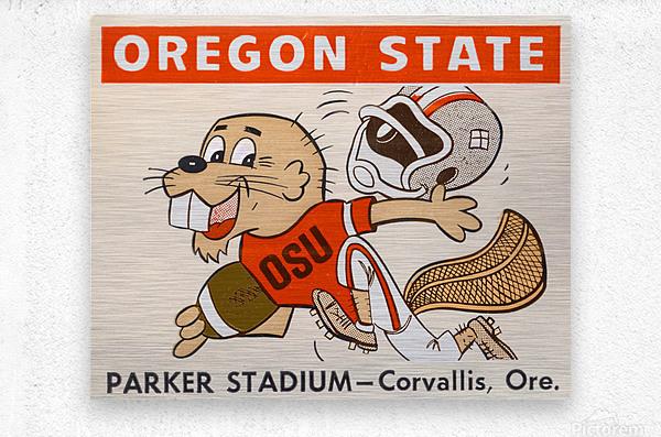 1970 Oregon State Beaver Ticket Stub Remix Art  Metal print