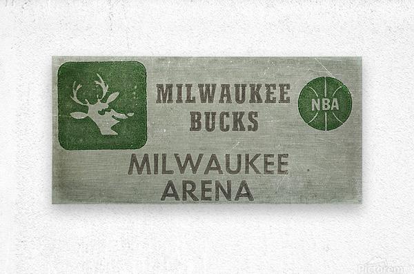 1977 Milwaukee Bucks Ticket Stub Remix Art  Metal print