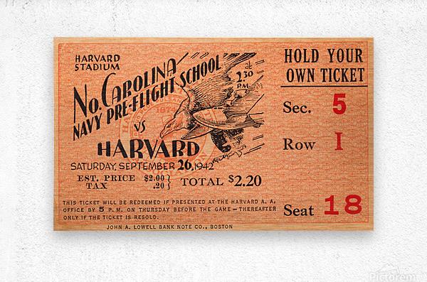 1942 Harvard Crimson vs. North Carolina Pre-Flight Cloudbusters  Metal print
