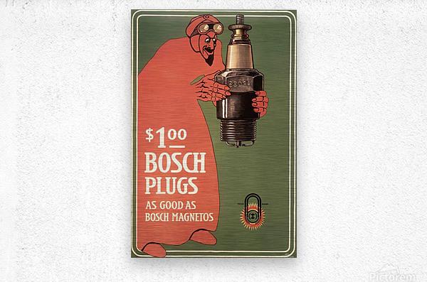 Vintage Bosch Spark Plugs Advertising Poster  Metal print
