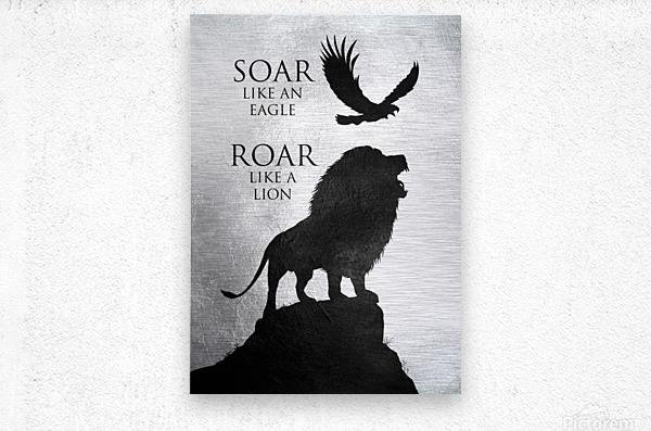 lion and eagle Motivational Wall Art  Metal print