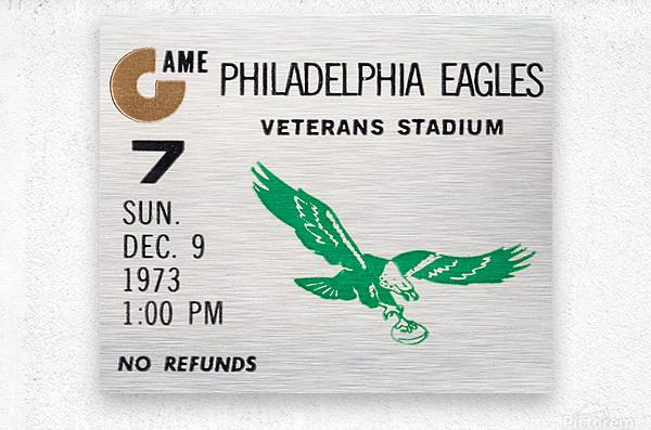 1973 Philadelphia Eagles Ticket Stub Remix Art  Metal print