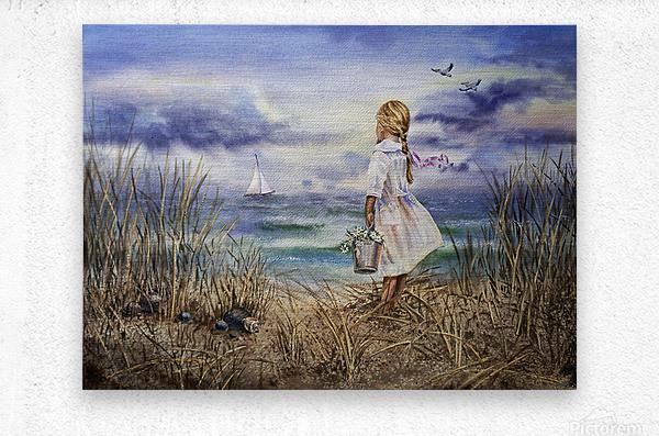 Girl At The Ocean Beach Art Painting  Metal print