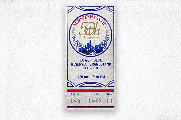 1983 Baseball All-Star Game Ticket Art  Metal print