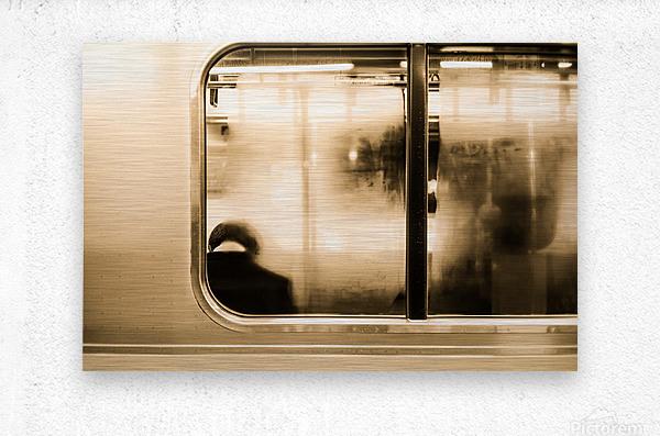 Urban Loneliness - Metro  Metal print