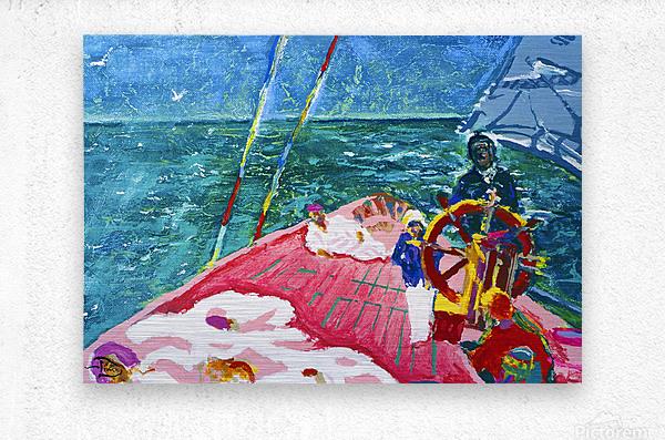 At the Wheel of The Sea Ray  Metal print