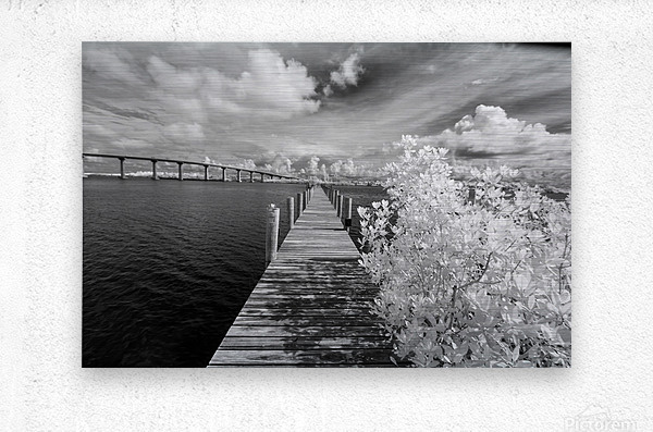 Wabasso Causeway Florida with boat dock  Metal print