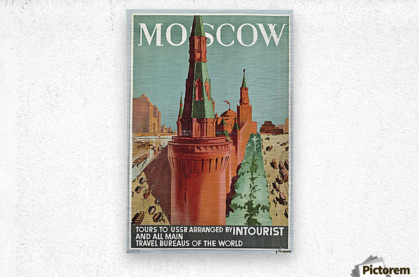 Moscow Vintage Travel Poster  Metal print