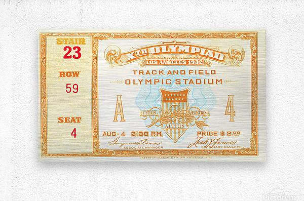 1932 Olympic Track and Field Ticket Stub Art  Metal print