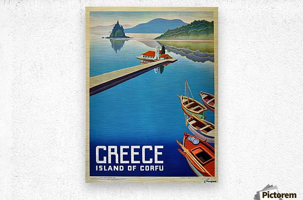Island of Corfu, Greece Vintage Travel Poster  Metal print