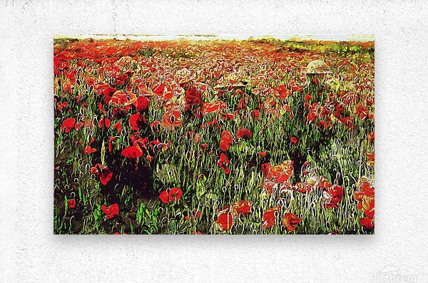 Hidden in the Poppy Fields  Metal print