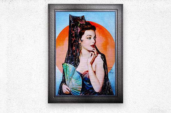 Gene Tierney as Lola Montez by Henry Clive Vintage Xzendor7 Old Masters Art Deco Reproductions  Metal print