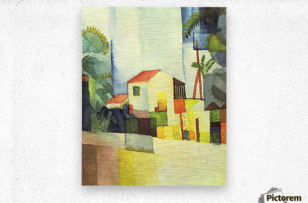 Bright house by August Macke  Metal print