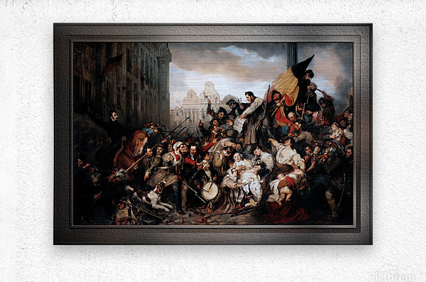 Episode of the September Days 1830 by Gustave Wappers Classical Fine Art Xzendor7 Old Masters Reproductions  Metal print