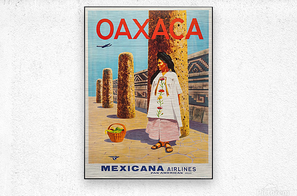 Mexicana Airlines Oaxaca travel poster  Metal print