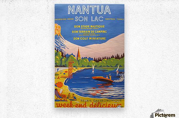 Vintage French Travel Poster for Nantua  Metal print