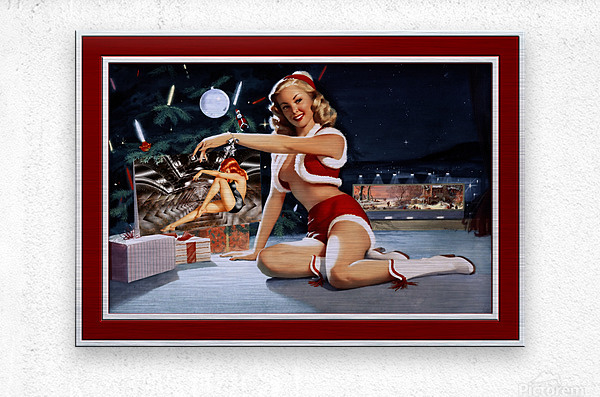 Christmas Pinup by Bill Medcalf Art Old Masters Xzendor7 Reproductions  Metal print