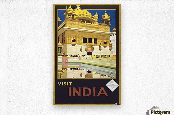 Visit India vintage travel poster  Metal print