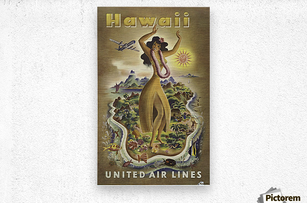 United Air Lines Hawaii Classic Travel Poster  Metal print