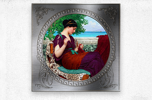Far Away Thoughts c1911 by John William Godward Classical Fine Art Xzendor7 Old Masters Reproductions  Metal print