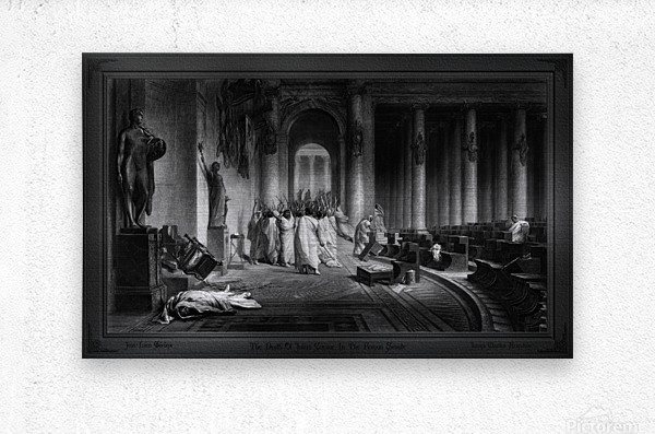 The Death Of Julius Caesar In The Roman Senate Engraving by James Charles Armytage Classical Fine Art Xzendor7 Old Masters Reproductions  Metal print