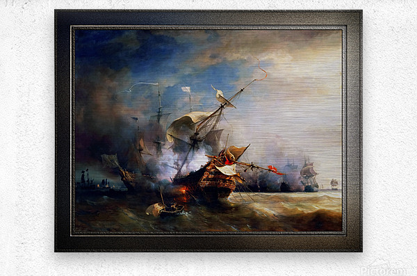 Battle of Cape Lizard in 1707 by Jean Antoine Theodore Gudin Classical Fine Art Xzendor7 Old Masters Reproductions  Metal print