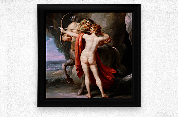 Chiron Instructing Achilles in the Bow by Giovanni Battista Cipriani Classical Fine Art Xzendor7 Old Masters Reproductions  Metal print