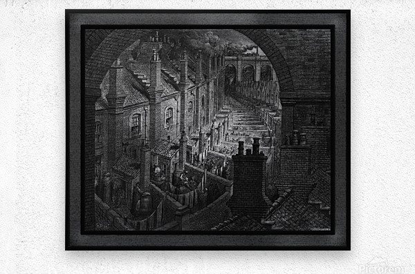 Over London by Rail by Gustave Dore Classical Fine Art Xzendor7 Old Masters Reproductions  Metal print