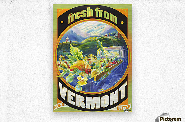Faux Vintage Fresh from Vermont Travel Poster  Metal print