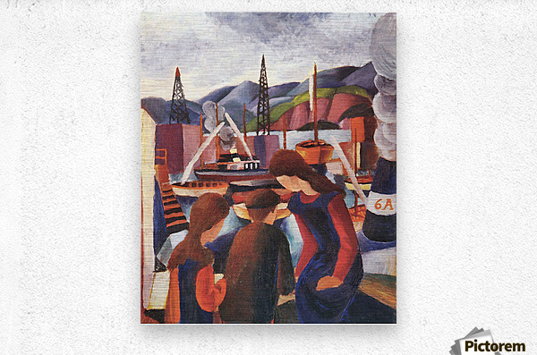 Children at the port (I) by August Macke  Metal print