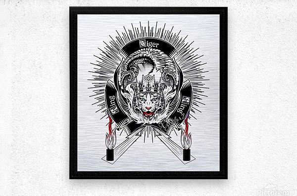 White Tiger King Tiger Art Emblem by Xzendor7  Metal print