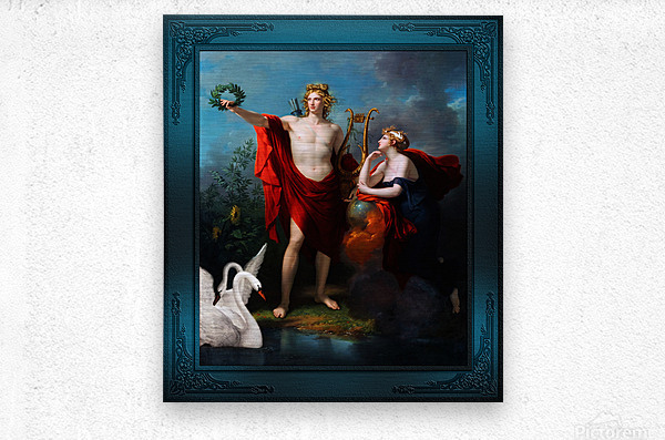 Apollo God of Light with Urania Muse of Astronomy by Charles Meynier Classical Fine Art Xzendor7 Old Masters Reproductions  Metal print